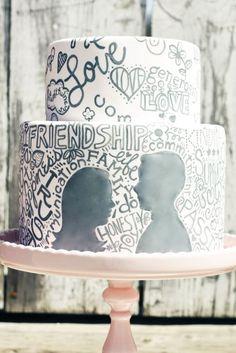 Silhouette & Love Quote Cake