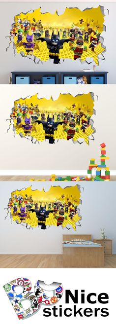 household items: Lego Batman Team Smashed 3D Wall Decal Kids Sticker Art Decor Vinyl Large R24 -> BUY IT NOW ONLY: $39.99 on eBay!