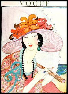 Poster of Vintage Vogue Magazine Cover- June Summer Fashions - Helen Dryden illustration Vogue Vintage, Vintage Vogue Covers, Moda Vintage, Vintage Art, Art Deco Illustration, Fashion Illustration Vintage, Fashion Illustrations, Retro Poster, Vintage Posters