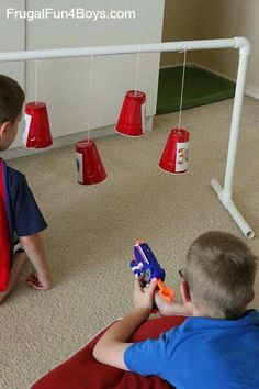 Break out the Nerf blasters and first up some family fun. These easy DIY Nerf targets can be thrown together in 30 minutes or less. Pvc Pipe Projects, Projects For Kids, Diy For Kids, Cool Kids, Crafts For Kids, Welding Projects, Outdoor Projects, Toddler Activities, Fun Activities