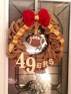 Items similar to Football Burlap Wreath on Etsy Football Crafts, Football Wreath, Nfl Football Teams, Football Stuff, Football Season, Diy 49ers Gifts, 49ers Nation, Forty Niners, Cute House