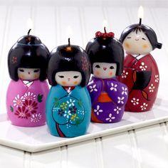 Kokeshi doll candles.
