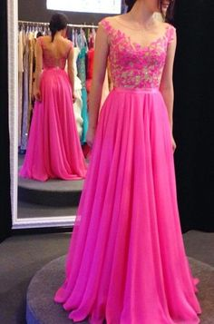 Hot pink chiffon and lace A line floor length prom dress