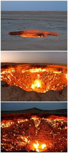 """The """"Doorway to Hell""""  in Derweze, Turkmenistan.   Caved in and scientists lit the gases on fire to burn them up.  Its been burning for half a century."""