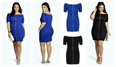 b3838f63896 Plus Size Nadia Off Shoulder Front Zip Dress black   blue Plus Size Fashion  Blog