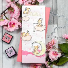 Stampin with Liz Design: Wish Upon A Star Card! Mama Elephant Wish Upon A Star stamp set Pink Cards, Baby Cards, Cloud Stencil, Mama Elephant Stamps, Spring Scene, Tag Design, Design Cards, Mft Stamps, Small Cards