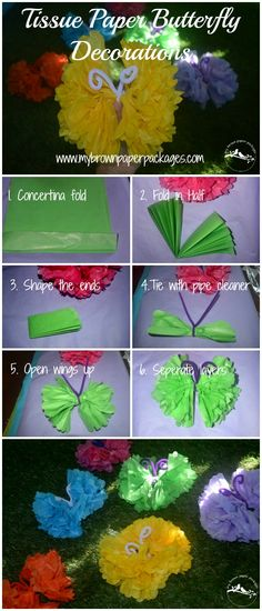 Kids Nature Play Birthday Party Theme including the food, activities, decorations and thank you gifts. Easy tutorial for homemade DIY tissue paper butterfly decorations. These butterflies are so easy even kids can make them.