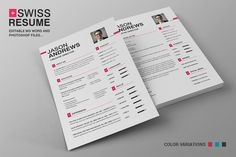Swiss Resume CV by SNIPESCIENTIST on Creative Market