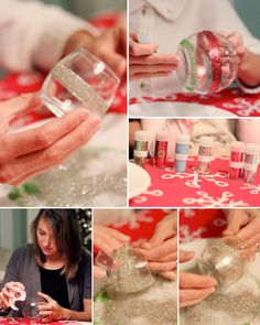 Glitter Votives Tutorial  Use any glass containers you have. Wrap with double sided tape..pour/spread glitter on them!  Done. >> To seal the glitter, try using clear nail polish over the glitter strip.  If you want to create an ombre effect or cover the whole votive, try using Martha Stewart glitter craft paint.