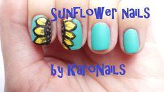 Sunflower nail art by KaroNails
