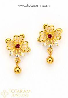 Kids Earrings, Simple Earrings, Women's Earrings, Gold Earrings For Women, Gold Earrings Designs, Gold Jewelry Simple, Coral Jewelry, Indian Earrings, Pendant Jewelry