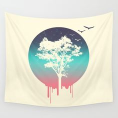 Tree Of Life Wall Tapestry. #animals #illustration #nature #graphic-design