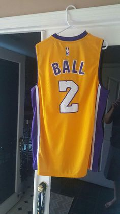 bef7408eeff Nike Lakers Lonzo Ball w Purple Number Stitched NBA Jersey on sale