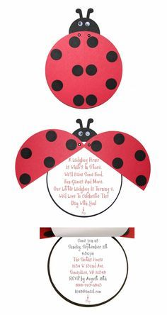 Ladybug Birthday or Baby Shower Invitations- 15 Pack Adorable Red and Black via Etsy