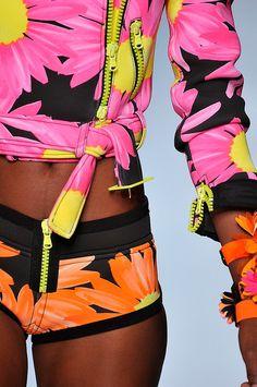 fun bright neon zipper floral