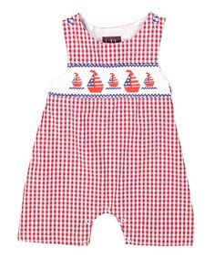 Another great find on #zulily! Red & Blue Sailboats Smocked Shortalls - Infant & Toddler #zulilyfinds