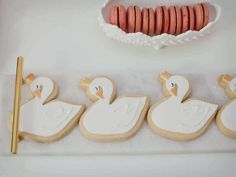 Check ot these Swan Cookies at this pretty Swan themed birthday party! See more party ideas at CatchMyParty.com