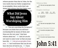 """John 5:41 ○ What did Jesus say about worshipping him? He said """"I do not accept glory from men"""" (John 5:41) Jesus always gave the praise and credit to his Father. He once said: """"Why do you call me good? Nobody is good except one, God. - Mark 10:18.  Jesus directed attention and worship only to Jehovah God. For example, when asked to do an act of worship to the Devil, Jesus said: """"It is Jehovah your God you must worship, and it is to him alone you must render sacred service."""" (Matthew 4:10) He…"""