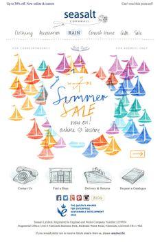 Seasalt email. June 2014 Email Marketing Design, Email Design, Email Newsletter Design, Work Inspiration, Summer Sale, Home Gifts, Concept, Graphic Design, Illustration