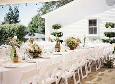 mesas longas ao ar livre