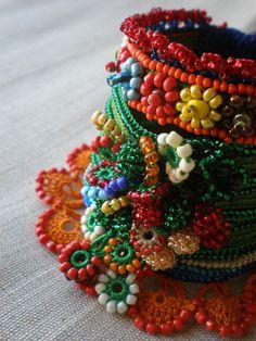 Phymosia Rosea: Freeform Crochet Cuff by irregularexpressions, $168.00