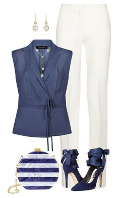 A fashion look from September 2016 featuring summer blouses, petite white pants and pointy-toe pumps. Browse and shop related looks. Stylish Work Outfits, Style Outfits, Business Casual Outfits, Mode Outfits, Classy Outfits, Fashion Outfits, Womens Fashion, Work Fashion, Fashion Looks