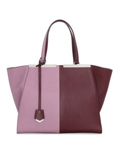 Trois-Jour Bicolor Shopping Tote Bag, Bordeaux/Lilac by Fendi at Neiman Marcus.