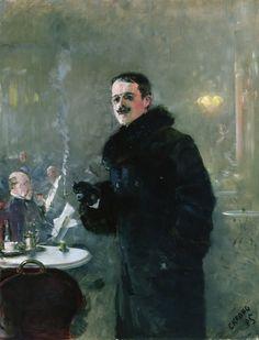 The Painter Gerhard Munthe, 1885 by Christian Krohg (Norwegian 1852-1925)...a fellow Norwegian artist in a smoke-filled cafe...fur collar and cuffs...pince-nez...