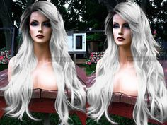 """U.S.A. // 24"""" Gray Silver White Long Heat OK Wavy Lace Front & Skin Top Part Wig w/ Ombre Grey Dark Root by WantableWigs on Etsy https://www.etsy.com/listing/258020545/usa-24-gray-silver-white-long-heat-ok"""