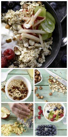 Verlockende Frühstücksmischung: süß, saftig und kernig: Fruchtiges Birchermüsli – smarter mit Äpfeln, Weintrauben, Beeren, Sultaninen und Haselnüssen  http://eatsmarter.de/rezepte/fruchtiges-birchermuesli-smarter