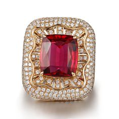 19278320600 03 - 7.87ct Natural Red Tourmaline in 18K Gold Ring