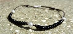 Black and White Beads and Pearls Adjustable Bracelet