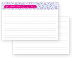 Personalized recipe cards. $23 for 15 with case. Feterie