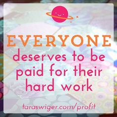 Let's start our week with embracing this fact: you deserve to be paid for your hard work. No matter what. . One thing that comes up every time I talked about money-making with a group of women is need and who needs what and how much and how this impacts their work. This is a loaded emotionally-charged issue but its time we talk about this openly and without shame. .  The simple fact is:  Some makers need to make money from their craft in order to pay the bills  some makers do not need this…