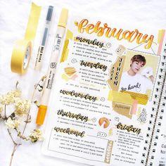 """12.5 ezer kedvelés, 167 hozzászólás – bullet journal inspiration. (@bullet.journals) Instagram-hozzászólása: """"Comment a yellow emoji! I love this February calendar page! ✨ by @fujiscent ⚡️// Use the tag…"""""""