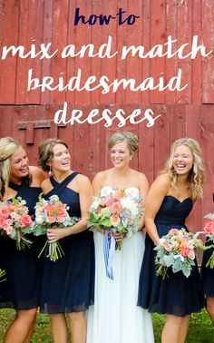 4 tips to help you mix and match bridesmaid dresses for a unique and trendy look! From styles to fabrics, 'wow' your guests with mismatched bridal party attire!