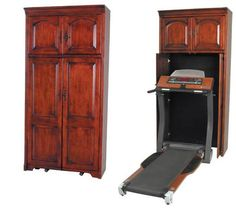 Hidden treadmill furniture - ok, ugly on the outside ...  but i really like the CONCEPT! cabinet on top for TV