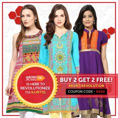#KurtiRevolution is BACKK!! With newer and fresher designs and a mind-boggling offer of BUY 2 GET 2 FREE! It won't stay forever..GRAB your chance!---> http://www.jabongworld.com/kurti?utm_source=ViralCurryOrganic&utm_medium=Pinterest&utm_campaign=KurtiRevolution-27-aug2015