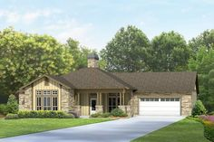 A covered porch invites you into this four-bedroom, home plan. The living room is open to the country kitchen, which leads out to a large covered patio. Addison House, Country Kitchen, Square Feet, Ranch, House Plans, New Homes, House Design, Cabin, How To Plan