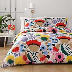 Bold, artistic and colorful, the Ojakellukka Duvet Cover Set from marimekko boasts an exuberant floral print that is bursting with life. With a hidden button closure, this cotton duvet cover will transform your bedroom style. 100 Cotton Duvet Covers, Red Duvet Cover, Duvet Cover Sets, Marimekko, Twin Comforter Sets, Duvet Sets, King Comforter, Queen Duvet, Bed Sets