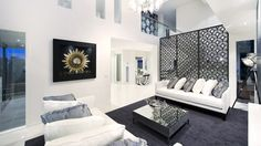 Front Living space with the elegance of white interior by Melbourne Custom Home builder Bellemore homes Custom Home Builders, Custom Homes, Privacy Screen Outdoor, White Houses, Contemporary Interior, Living Spaces, Living Rooms, Luxury Homes, Building A House