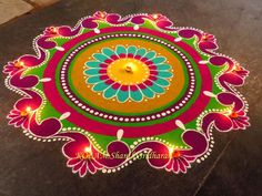 Creative rangoli designs Perfect For Sprucing Diwali Indian Rangoli Designs, Rangoli Designs Latest, Simple Rangoli Designs Images, Rangoli Designs Flower, Rangoli Border Designs, Rangoli Patterns, Colorful Rangoli Designs, Rangoli Ideas, Flower Rangoli