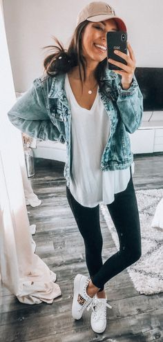 blue denim jacket #spring #outfits