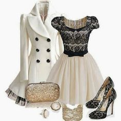 Adorable Whiter jacket ,black lace dress ,purse and  boots combination fall