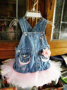 So stinking cute!  Overalls Jean Tutu | Ellie Grace Crafts