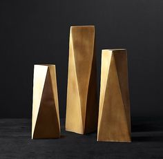Brass Geometric Vase Collection
