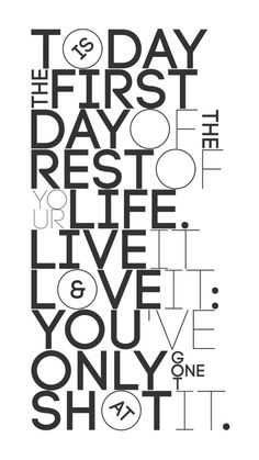 typography. today is the first day of the rest of your life