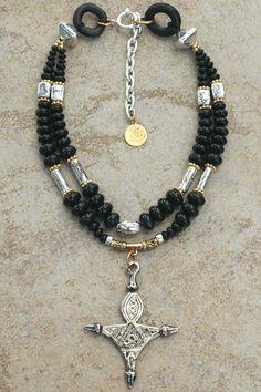 Elegant Black Onyx, Gold and Silver Tuareg Cross Pendant Necklace