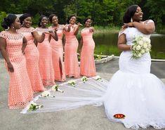 Congrats Dyllis Bride's gown & bridesmaids dresses by beth santè❤️ Bridesmaid Dress Colors, Wedding Bridesmaid Dresses, Dream Wedding Dresses, Wedding Attire, Bridal Dresses, Wedding Gowns, Traditional Wedding Dresses, Bride Gowns, African Dress