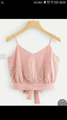 Shop Pearl Beaded Split Tie Back Crop Cami Top online. SheIn offers Pearl Beaded Split Tie Back Crop Cami Top & more to fit your fashionable needs. Cami Tops, Cami Crop Top, Pink Crop Top, Cute Crop Tops, Women's Tops, Teen Fashion Outfits, Trendy Outfits, Girl Outfits, Cute Outfits